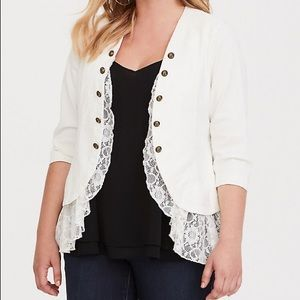 Torrid White Military Blazer With Lace